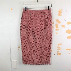 🍩 L'ATISTE Pink Sheer Scallop Pencil Skirt NWOT